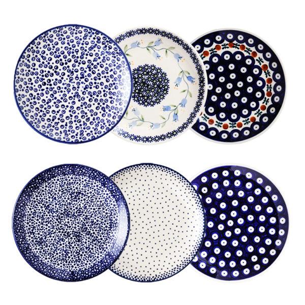 Bunzlauer Keramik Frühstücksteller 18 cm 6er Set Handarbeit