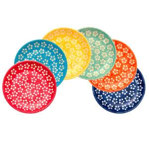 "Bunzlauer Keramik Frühstücksteller 18cm 6er Set ""Kolor Love"" Kollektion"