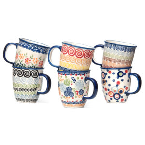 Bunzlauer Keramik Becher Tassen 300 ml 6er Set Handbemalt