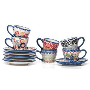 Bunzlauer Keramik Espressotassen mit Untertassen Vol.70ml 6er Set Handarbeit