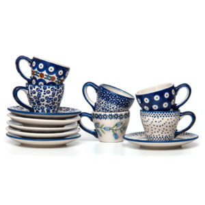 Bunzlauer Keramik Espressotassen mit Untertassen Vol.70ml 6er Set Neu