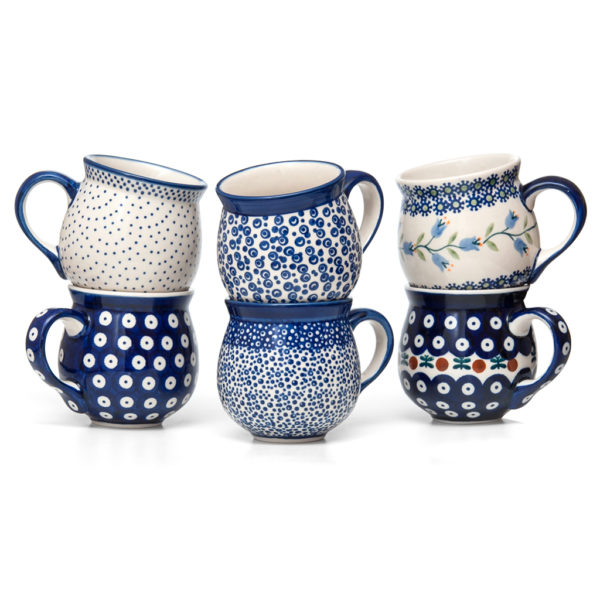 Bunzlauer Keramik Kugelbecher 300 ml 6er-Set Handbemalt