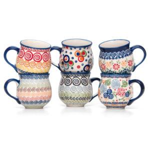 Bunzlauer Keramik Kugelbecher Kugeltassen 300 ml 6er Set Handarbeit