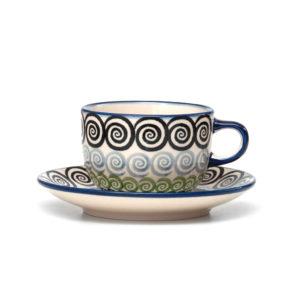 Bunzlauer Keramik Tasse mit Untertasse 200ml CGZC Unikat Modern