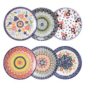 Bunzlauer Keramik Frühstücksteller 18 cm 6er Set Handarbeit bunt