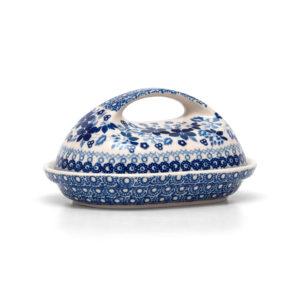 Bunzlauer Keramik Butterdose für 250g Butter Dekor SB1 Blaue Linie Kollektion