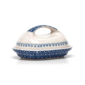 Bunzlauer Keramik Butterdose für 250g Butter Dekor SB6 Blaue Linie Kollektion