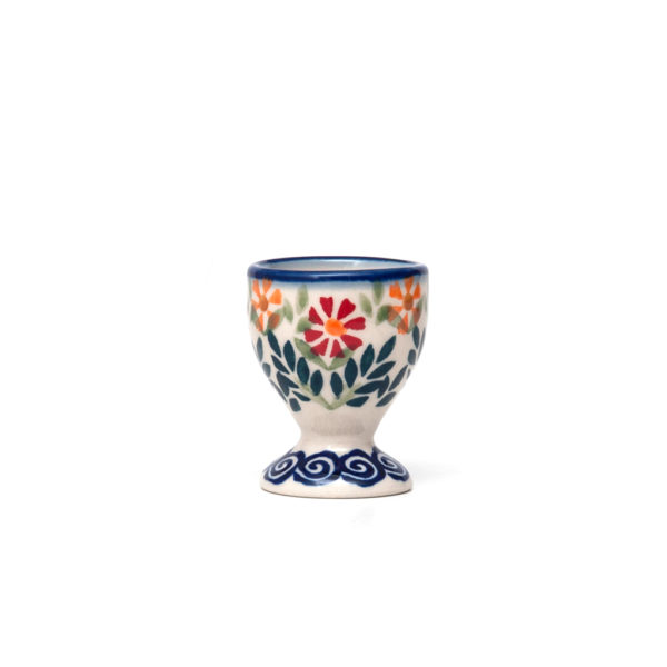 Bunzlauer Keramik Eierbecher mit Fuß Dekor JS14