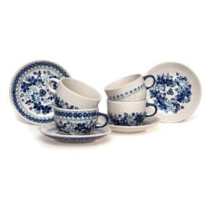 Bunzlauer Keramik Kugelbecher 300ml 4er Set Bleu Line Kollektion