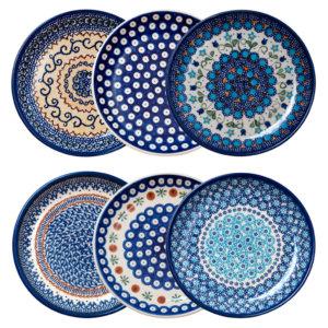 Bunzlauer Keramik Frühstücksteller, Dessertteller 19 cm 6er Set Handarbeit Neu