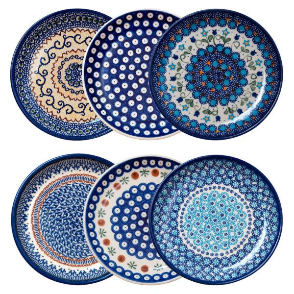 Bunzlauer Keramik Frühstücksteller Dessertteller 19cm 6er Set Handarbeit