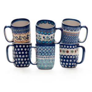 Bunzlauer Keramik Becher quadratisch Modern Vol.250 ml 6er Set Handabeit Neu