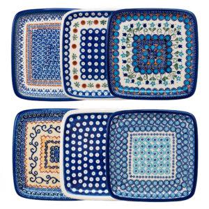 Bunzlauer Keramik Frühstücksteller, Dessertteller quadratisch 19cm 6er Set