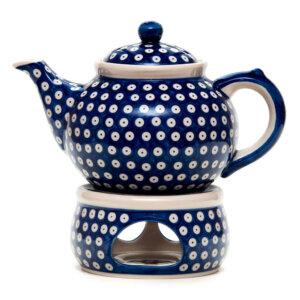 Bunzlauer Keramik Keramik Tee-/Kaffeekanne mit Stövchen 1,5L Dekor T-01 Handarbeit