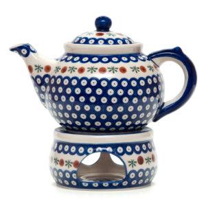 Bunzlauer Keramik Keramik Tee-/Kaffeekanne mit Stövchen 1,5L Dekor T-02 Handarbeit