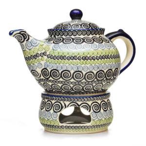 Bunzlauer Keramik Kanne mit Stövchen 2,0 Liter Dekor CGZC Unikat Modern