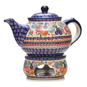 Bunzlauer Keramik Kanne mit Stövchen 2,0 Liter KOKU Unikat Modern signiert
