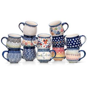 Bunzlauer Keramik Kugelbecher Kugeltassen 300 ml 12er-Set Handbemalt