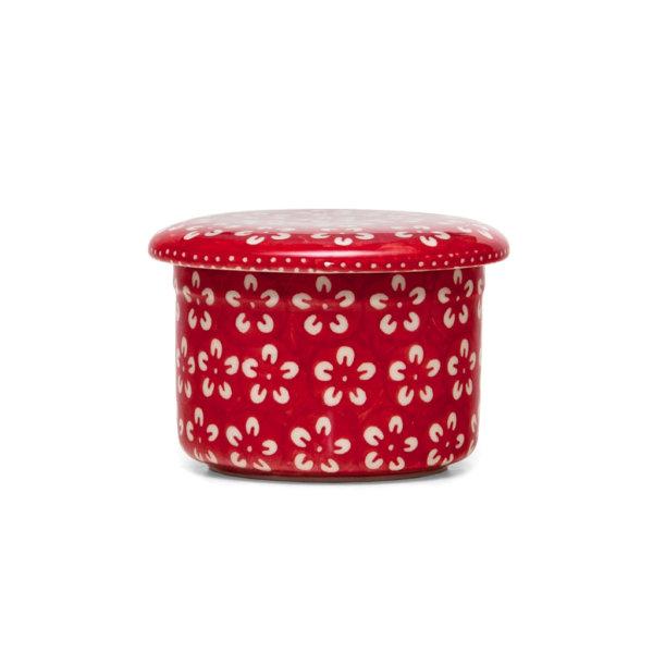 Bunzlauer Butterdose mit Wasserkühlung 125g Kolor Love Red