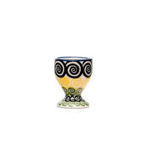 Bunzlauer Keramik Eierbecher mit Fuß Dekor CZZC Unikat Modern