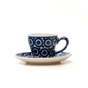 Bunzlauer Keramik Espressotasse mit Untertasse 70ml Dekor 58