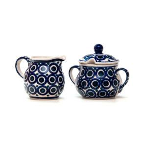 Bunzlauer Keramik Zuckerdose und Milchkännchen 2er Set Dekor 58