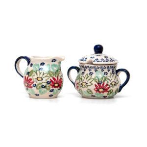 Bunzlauer Keramik Zuckerdose und Milchkännchen 2er Set Dekor MC20
