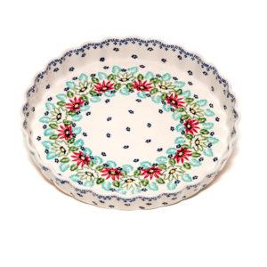 Bunzlauer Keramik Obstkuchenformen Quiche groß 30cm Dekor MC20