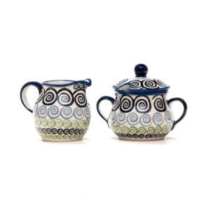 Bunzlauer Keramik Zuckerdose und Milchkännchen 2er Set CGZC Unikat Modern