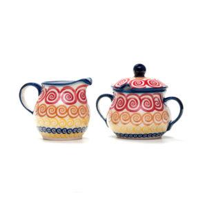 Bunzlauer Keramik Zuckerdose und Milchkännchen 2er Set CMZK Unikat Modern