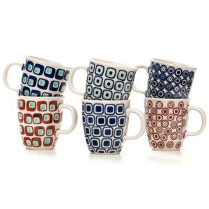 Bunzlauer Keramik Becher Tassen 300 ml 6er Set 60er Jahre Kollektion
