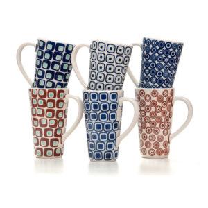 Bunzlauer Keramik Latte Tassen 400ml 6er Set 60er Jahre Kollektion