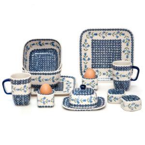 Bunzlauer Keramik Frühstücksset 12-tlg. quadratisch für 2 Personen Dekor ASD