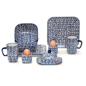 Bunzlauer Keramik Frühstücksset 10-tlg. quadratisch für 2 Personen Dekor MAGD