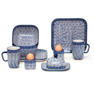 Bunzlauer Keramik Frühstücksset 10-tlg. quadratisch für 2 Personen Dekor MAGM