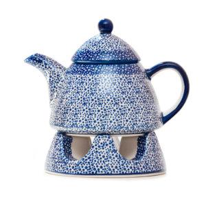 Bunzlauer Keramik Kanne mit Stövchen 0,9L Dekor MAGM Handarbeit