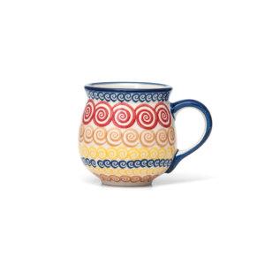 Bunzlauer Keramik Kugelbecher 200 ml Dekor CMZK Unikat Modern