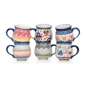 Bunzlauer Keramik Kugelbecher Kugeltassen 200 ml 6er Set Handarbeit