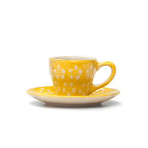 "Bunzlauer Keramik Espressotasse mit Untertasse Vol.70ml ""Kolor Love"" Yellow"