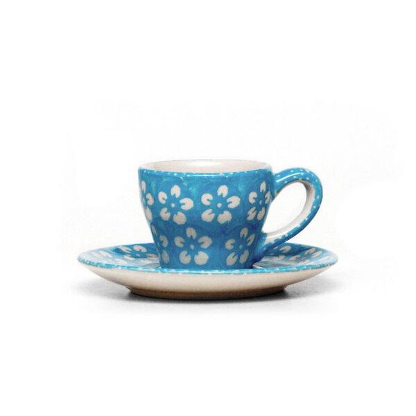 "Bunzlauer Keramik Espressotasse mit Untertasse Vol.70ml ""Kolor Love"" Turkis"