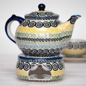 Bunzlauer Keramik Kanne mit Stövchen 1,3 Liter Dekor CZZC Unikat Modern Handarbeit