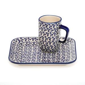 Bunzlauer Keramik Frühstücksset quadratisch Becher und Teller 2er Set MAGD Handarbeit
