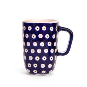 Bunzlauer Keramik quadratische Tasse mit Henkel 250ml Dekor 70A Handarbeit