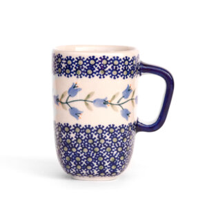 Bunzlauer Keramik quadratische Tasse mit Henkel 250ml Dekor ASD Handarbeit