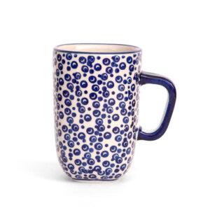 Bunzlauer Keramik quadratische Tasse mit Henkel 250ml Dekor MAGD Handarbeit