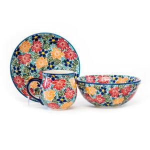 Bunzlauer Keramik Frühstücksset 3-tlg. Dekor KS02 Unikat Modern signiert