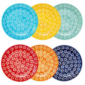 Bunzlauer Keramik Frühstücksteller 22 cm 6er Set Kolor Love Kollektion Handarbeit