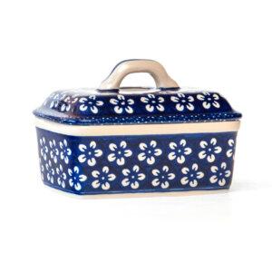 Bunzlauer Keramik Butterdose tief für 250g Butter Kolor Love Kobalt