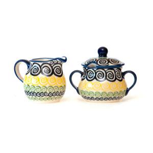 Bunzlauer Keramik Zuckerdose und Milchkännchen 2er Set CZZC Unikat Modern