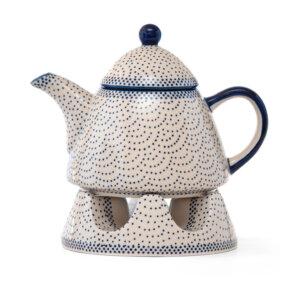 Bunzlauer Keramik Kanne mit Stövchen 0,9L Dekor 61A Unikat Handarbeit